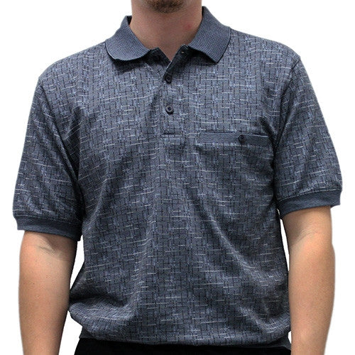 Safe Harbor Allover Short Sleeve Banded Bottom Shirt 6191-343 Slate - theflagshirt