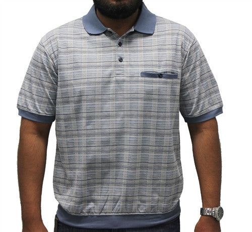 Safe Harbor Short Sleeve Plaid Banded Bottom Shirt - 6191-346 Blue - bandedbottom