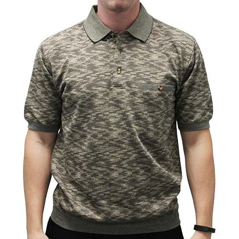 Safe Harbor Short Sleeve Banded Bottom Shirt 6191-349BT - Khaki - bandedbottom