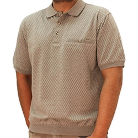 Safe Harbor Allover Short Sleeve Banded Bottom Shirt - 6191-351BT - Khaki - bandedbottom