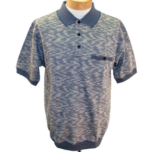 Safe Harbor Allover Short Sleeve Banded Bottom Shirt 6191-356BT Blue - bandedbottom