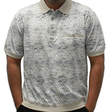 Safe Harbor Jacquard Short Sleeve Banded Bottom Shirt 6191-361 Stone - bandedbottom
