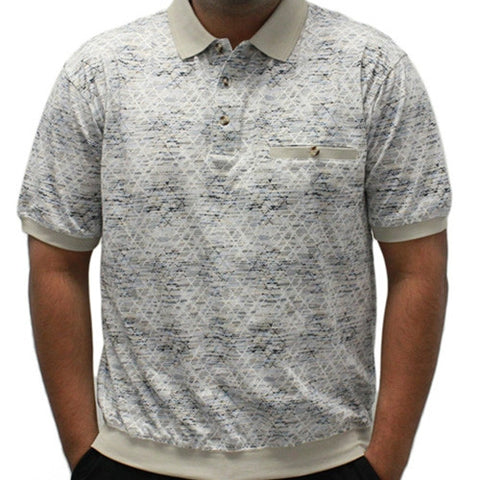 Safe Harbor Jacquard Short Sleeve Banded Bottom Shirt 6191-361 Stone - theflagshirt