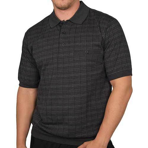 Classic By Palmland Piped Plaid Short Sleeve Banded Bottom Shirt 6191-362 Big and Tall Black - theflagshirt