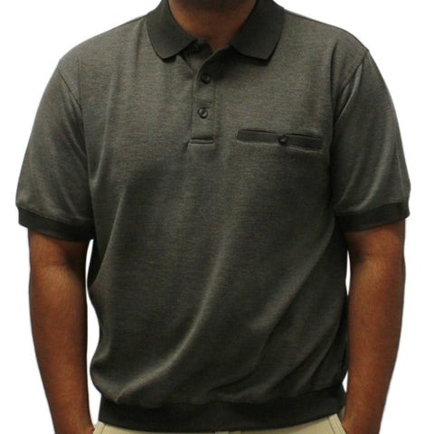 Classics By Palmland Short Sleeve Banded Bottom Shirt 6191-368 Big and Tall Black - theflagshirt