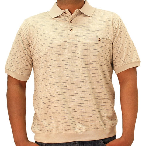 Classics by Palmland  Allover Short Sleeve Banded Bottom Shirt 6191-369 - Taupe - theflagshirt