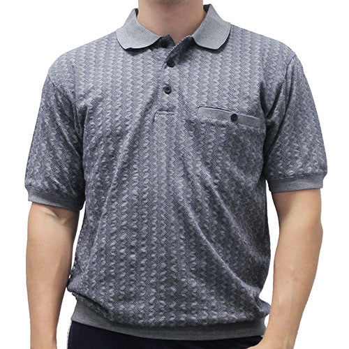 Safe Harbor Allover Short Sleeve Banded Bottom Shirt 6191-378 Silver - theflagshirt