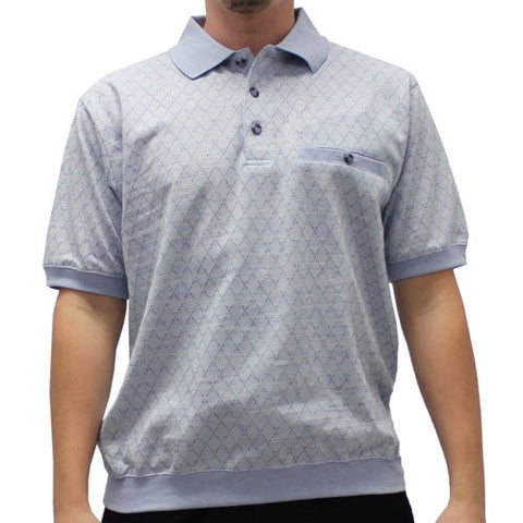 Classics by Palmland  Allover Short Sleeve Banded Bottom Shirt 6191-387 Light-blue - theflagshirt
