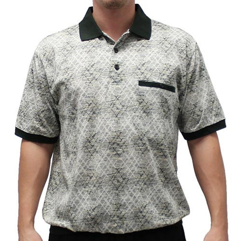 Classic by Palmland Allover Short Sleeve Banded Bottom Shirt 6191-398 - bandedbottom