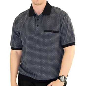 Classics by Palmland Short Sleeve Polo Shirt Big and Tall - Black - 6191-412BT - theflagshirt