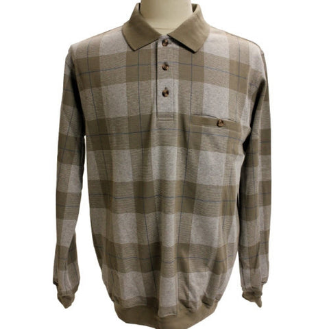 Safe Harbor Allover Long Sleeve Banded Bottom Shirt 6196-201 Brown - theflagshirt