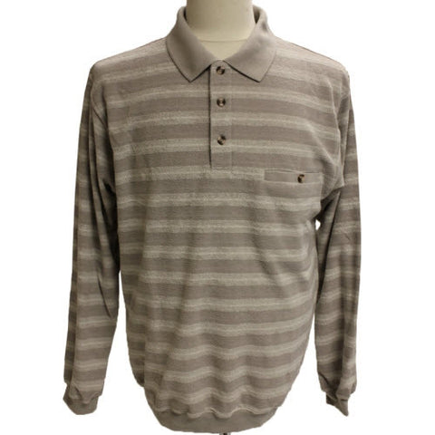 Safe Harbor Allover Long Sleeve Banded Bottom Shirt 6198-100 Natural - bandedbottom