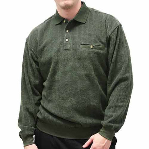 Safe Harbor Allover Long Sleeve Banded Bottom Shirt 6198-102 Hunter