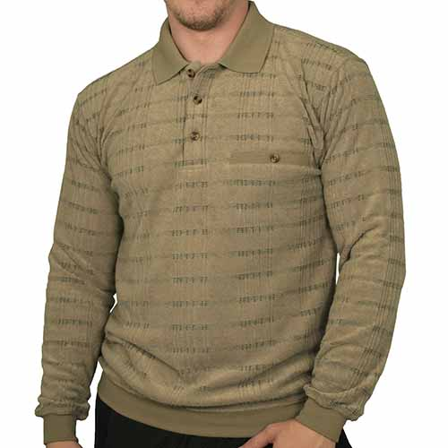 Safe Harbor Allover Long Sleeve Banded Bottom Shirt - 6198-103 Big and Tall Light-Brown - theflagshirt