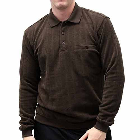 Safe Harbor Long Sleeve Banded Bottom Shirt 6198-108 Brown