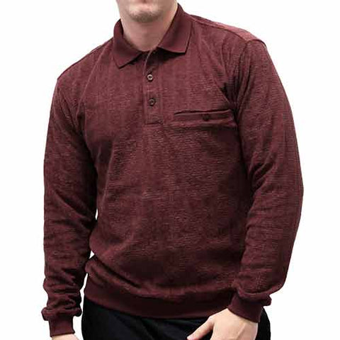 LD Sport Allover Long Sleeve Banded Bottom Shirt 6198-109 Burgundy