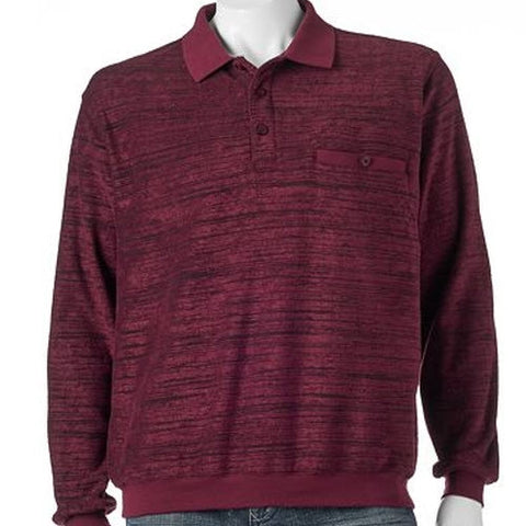 Classics By Palmland Allover Long Sleeve Banded Bottom 6198-121 Burgundy Big & Tall - theflagshirt