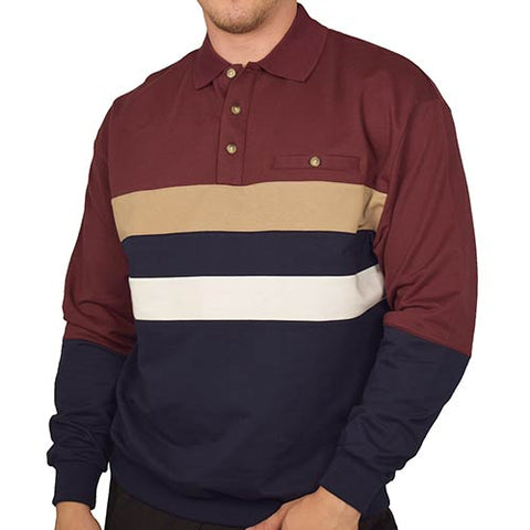Classics by Palmland Horizontal Stripes Long Sleeve Banded Bottom Shirt 6198-210 Burgundy - theflagshirt