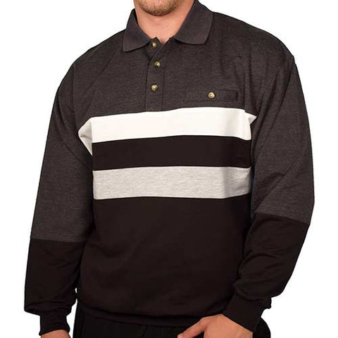 Classics by Palmland Horizontal Stripes Long Sleeve Banded Bottom Shirt 6198-210 Charcoal - theflagshirt