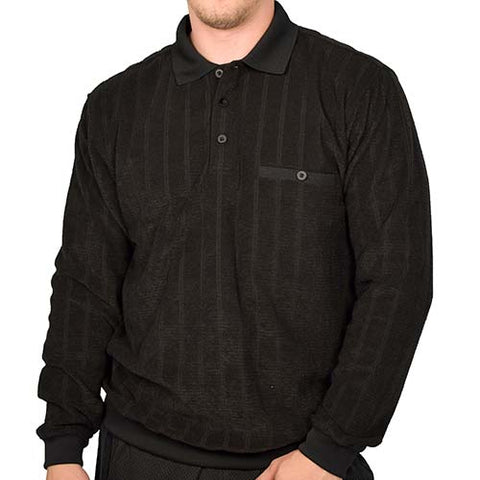 Classics by Palmland Long Sleeve Banded Bottom Shirt 6198-305 Black - theflagshirt