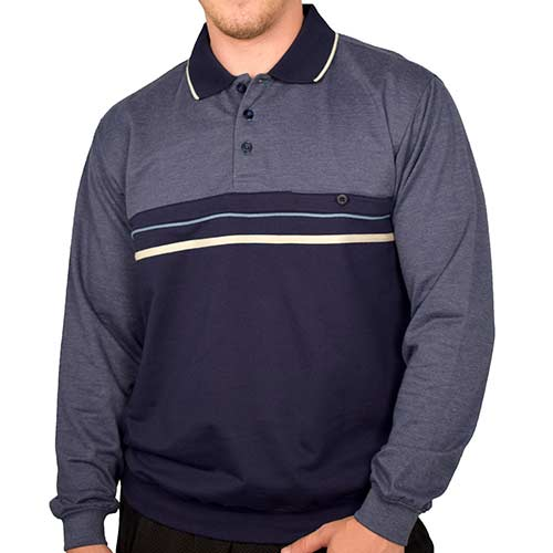 Classics by Palmland Long Sleeve Banded Bottom Shirt 6198-307 Navy - theflagshirt