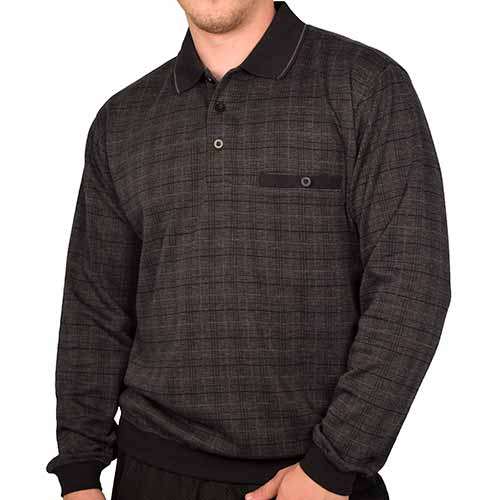 Classics by Palmland Long Sleeve Banded Bottom Shirt 6198-310 Big and Tall  Black - theflagshirt