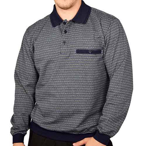 Classics by Palmland Long Sleeve Banded Bottom Shirt 6198-311 Navy - theflagshirt