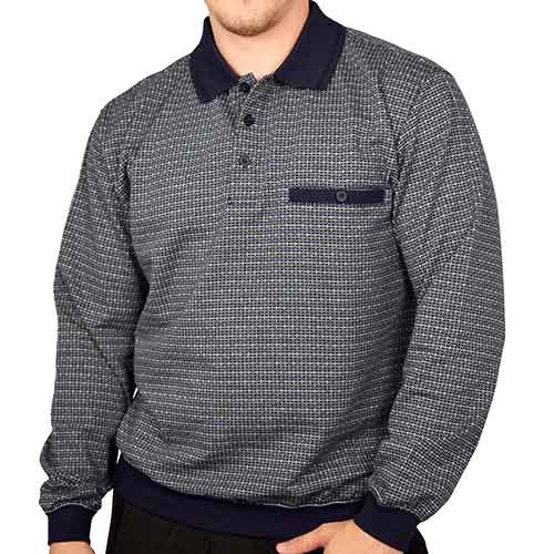 Classics by Palmland Long Sleeve Banded Bottom Shirt 6198-311 Big and Tall Navy - theflagshirt