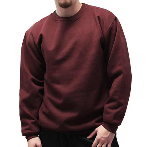 Fleece Crewneck Long Sleeve Sweat Shirt  Big and Tall 6400-450BT Burgundy - theflagshirt