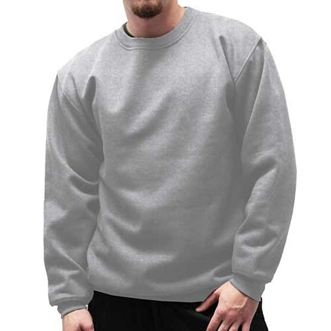 Fleece Crewneck Long Sleeve Sweat Shirt  Big and Tall 6400-450BT - Grey Heather - bandedbottom