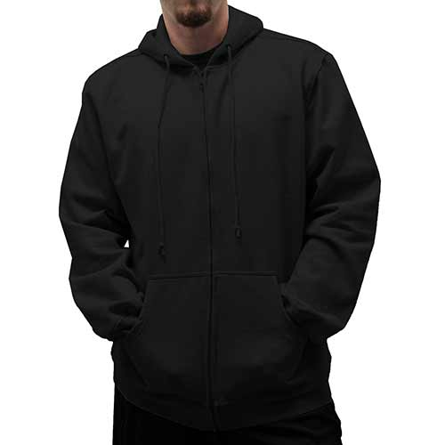 L/S Full Zipper Fleece Drawstring Hoodie 6400-452BT Black - Big and Tall