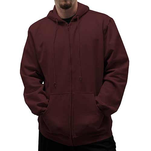 L/S Full Zipper Fleece Drawstring Hoodie 6400-452 Burgundy