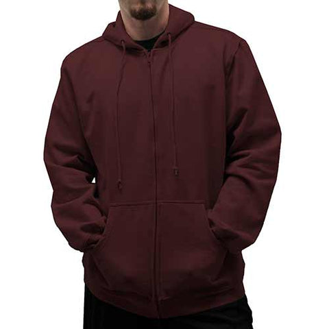 L/S Full Zipper Fleece Drawstring Hoodie 6400-452BT Burgundy - Big and Tall