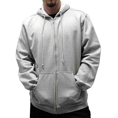 L/S Full Zipper Fleece Drawstring Hoodie 6400-452 Grey Heather - theflagshirt
