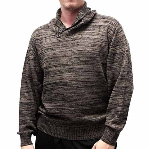 Men's Pullover Shawl collar Knitted Sweater 6800-825 Mocha - bandedbottom