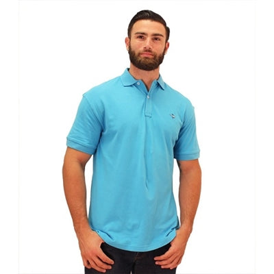 Biscayne Bay Embroidered Men's Polo - Aqua - bandedbottom