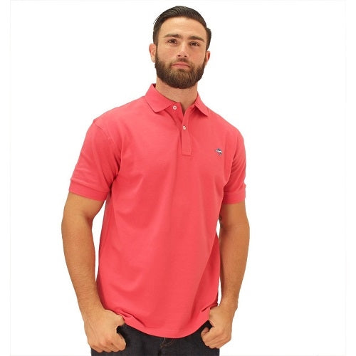 Biscayne Bay Embroidered Men's Polo - Guava - bandedbottom