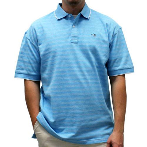Biscayne Bay Short-Sleeve Striped  Polo - 7200-410 Aqua - theflagshirt