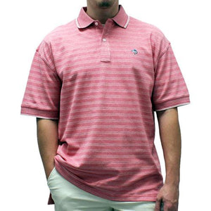 Biscayne Bay Short-Sleeve Striped  Polo - 7200-410 Guava - bandedbottom