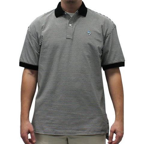 Biscayne Bay Horizontal Feed Stripe Polo  - 7200-411 Black - theflagshirt