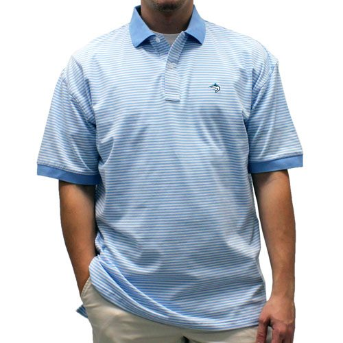 Biscayne Bay Horizontal Feed Stripe Polo - 7200-411 Powder - theflagshirt