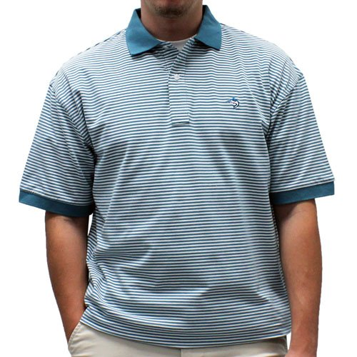 Biscayne Bay Horizontal Feed Stripe Polo - 7200-411 Teal - bandedbottom