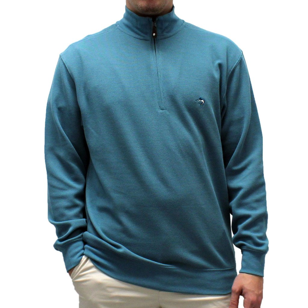 Biscayne Bay L/S Solid Rib Knit Sweater Big and Tall -Teal -7200-605BT - bandedbottom