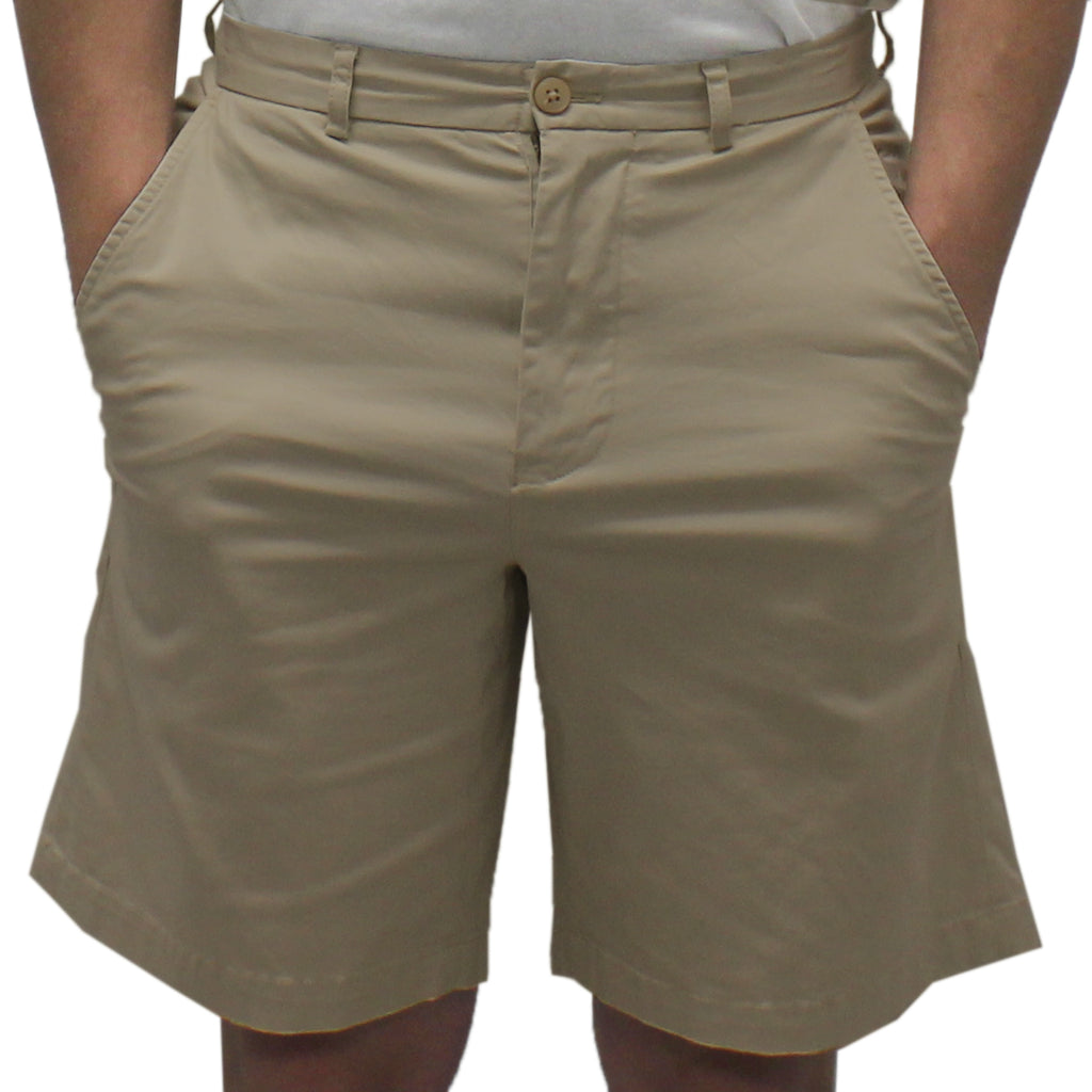 Biscayne Bay Washed Relaxed Fit Twill Shorts Khaki - banded bottom
