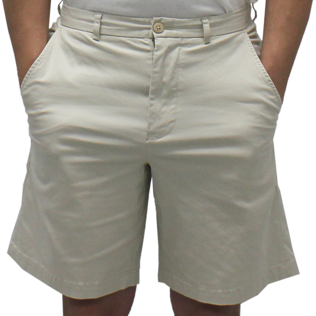Biscayne Bay Washed Relaxed Fit Twill Shorts Stone - banded bottom