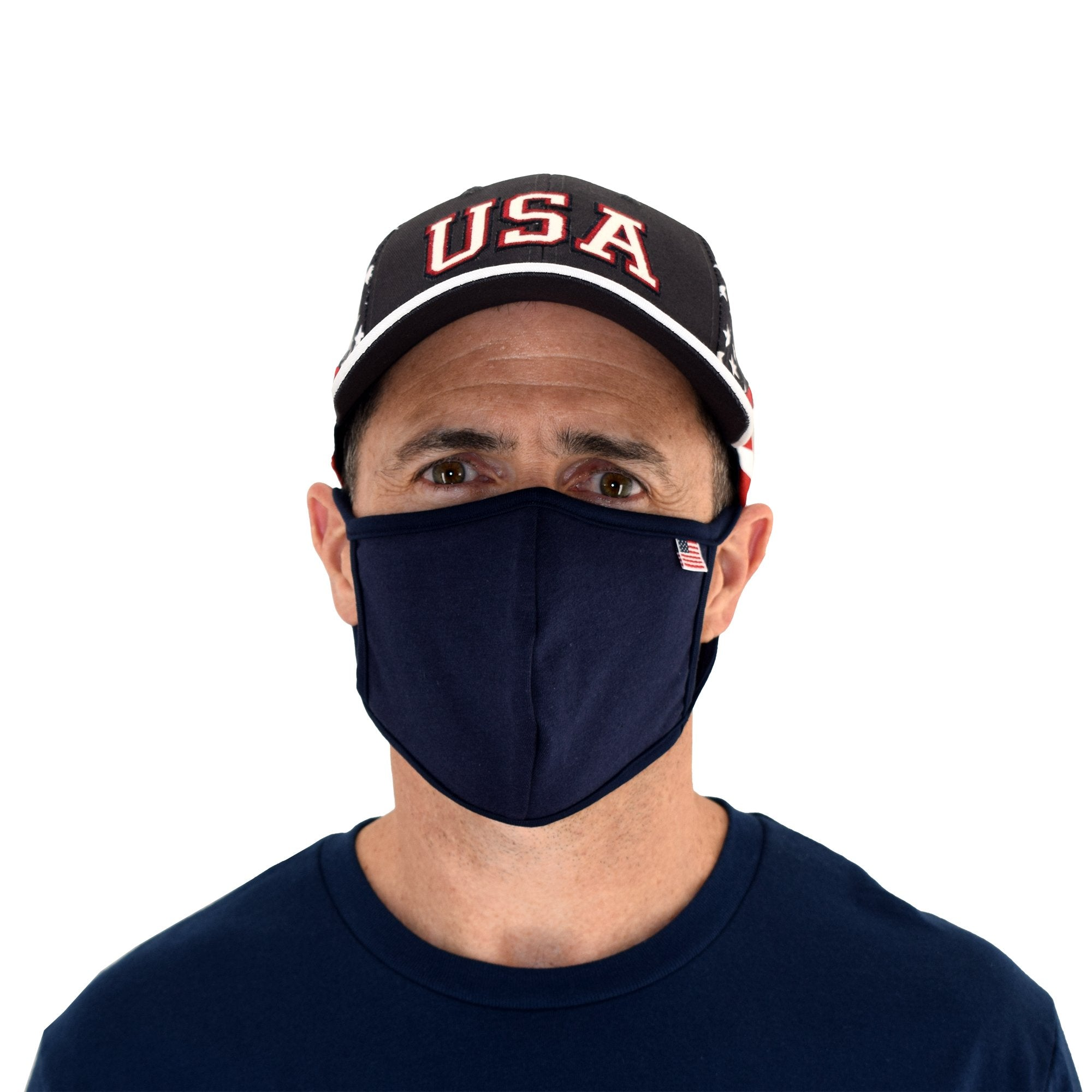 USA Flag Solid Face Mask Navy - the flag shirt