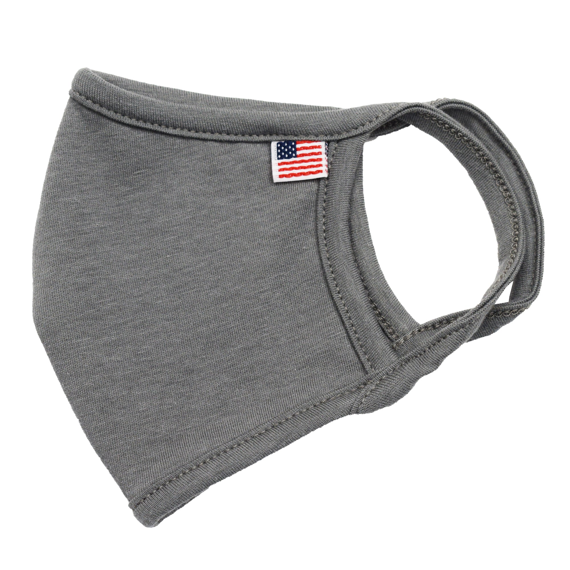 usa flag solid face mask stone grey - banded bottom