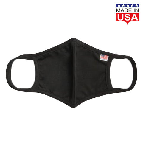 USA Flag Solid Face Mask Black