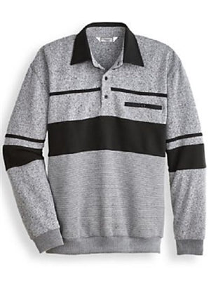 Palmland Long Sleeve Horizontal Panel Banded Bottom Polo Shirt - BL20-001B Grey - bandedbottom