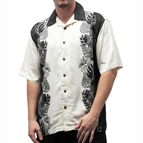 Irvine Park Men's Silk Shirt - Black - theflagshirt